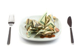 Money salad with dressing of coins