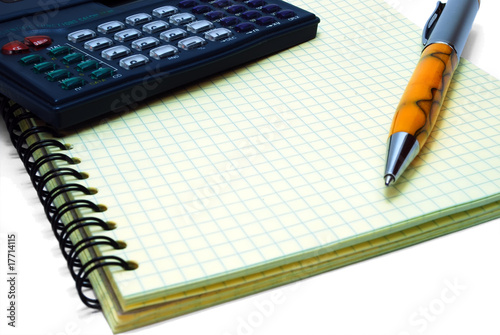 Isolated Notebook, Pen and Calc on White Background