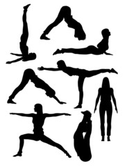 Yoga poses in silhoutte