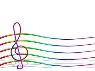 Pentagramma Arcobaleno-Rainbow Music-Musique Arc en Ciel-3D