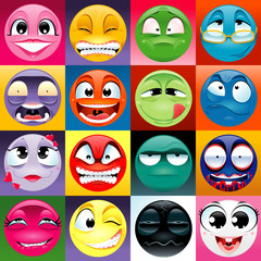 Group of expression with background.