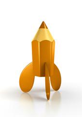 Child's orange rocket pencil. 3d-rendered image