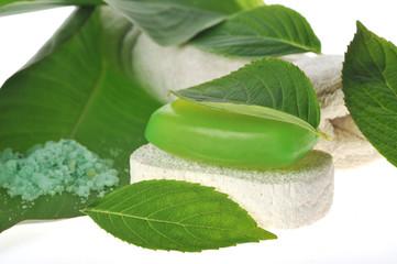 Green soap and sponge