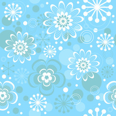 Seamless floral christmas pastel blue pattern