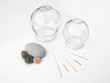 Acupuncture needles with glass cups - 17727789