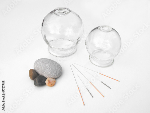 Acupuncture needles with glass cups