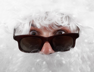 surprised santa claus in shades