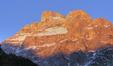 Dolomites Mountains at Sunset, Italy, February 2007 poster