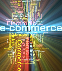 E-commerce word cloud glowing