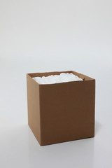 open box with packing 'peanuts' inside on the plain background