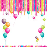 Happy birthday! Balloons and confetti. Insert your text here. poster