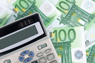 euro banknotes background and calculator