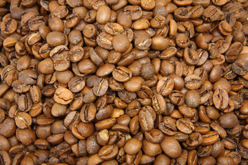 a carpet of roasted coffee