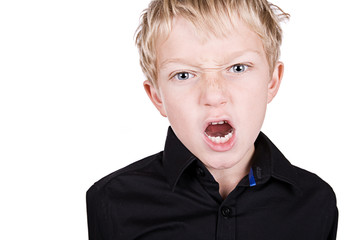 Young Blonde Boy Shouting into the Camera