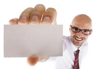 Mann mit großer Visitenkarte