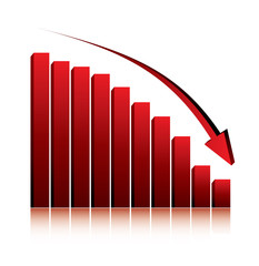 economy crisis / 3d graph showing fall in profits or earnings