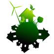 Maisons écologie ville rond vert gris