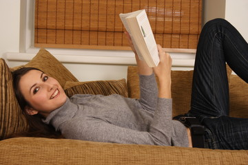 a woman with a book