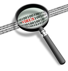Scanning for computer virus with magnifying glass