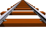 Endless 3D railway track poster