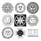 vector sun icons, retro engraving poster