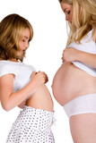 Comparing belly sizes between child and pregnant aunt poster