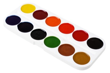 Set of watercolor paints isolated on white background