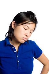 Asian girl is sad