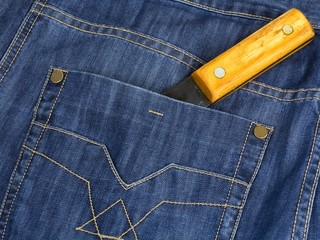 The hatchet handle is shown from a pocket jeans