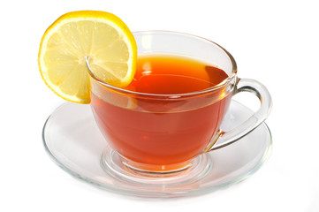 Cup of tea with segment of lemon on a white background