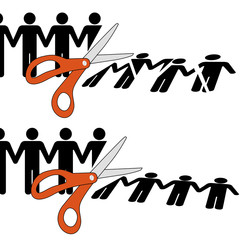 Scissors cut divided group of people into pieces
