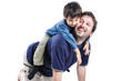 Happy young father with his child on white background