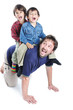 Happy young father with his children on white background