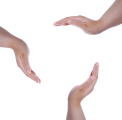 Hands shapes on white isolated background