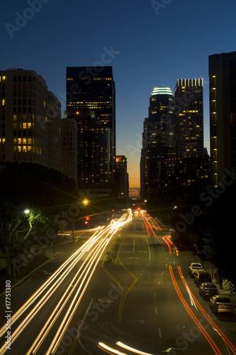 Los Angeles city skyline at night.