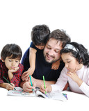 Happy family with several members in education process poster