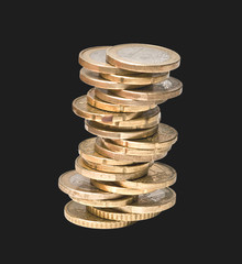 Tower from euro coins