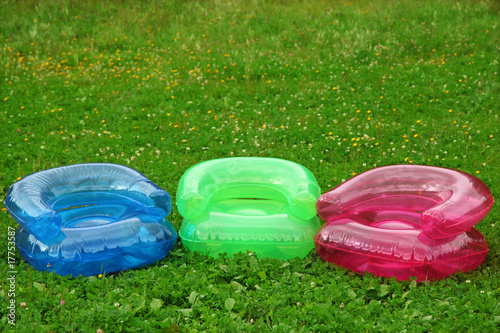 Inflatable armchairs on lawn - 17753587