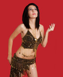 Woman with dark hair in goddess costume poster