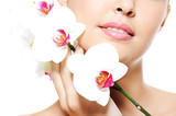 Skincare of a beauty female lips poster