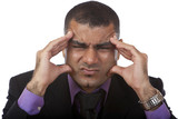Businessman has headache because of stress - Kopfschmerz