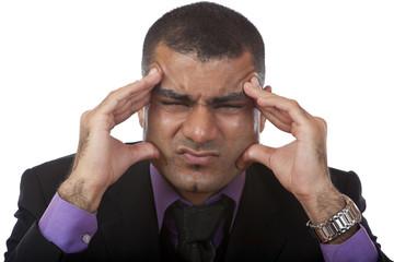 Businessman has headache because of stress - Kopfschmerz