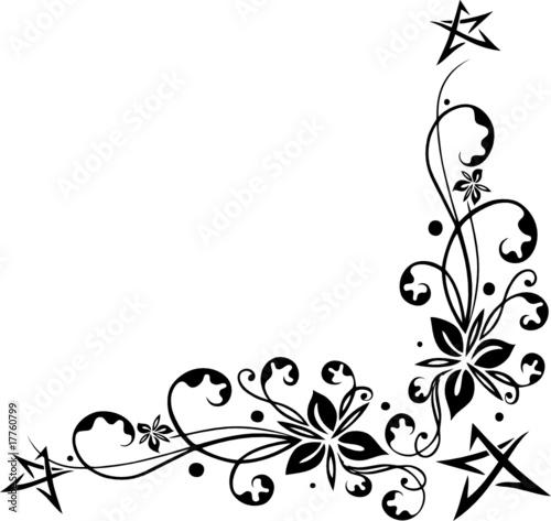 ranke floral ornament mit blumen sterne pentagramm