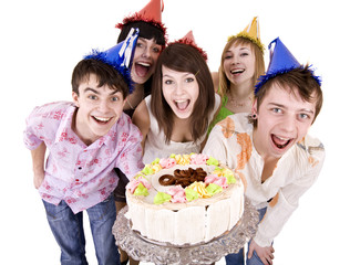 Group teenager celebrate happy birthday with cake. Isolated