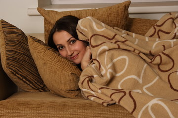 a woman with a blanket