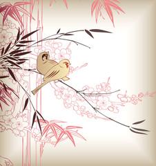 Bamboo Bird Cherry Blossom