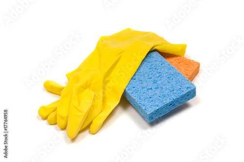 Yellow rubber gloves and sponges