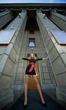 portrait long legs beauty woman in the city