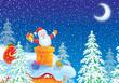 Santa Claus is stuck in chimney on housetop