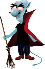 monster the vampire with a magic broom